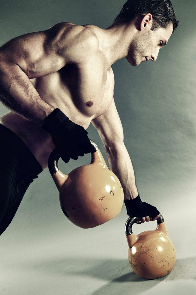Shirtless young muscular man