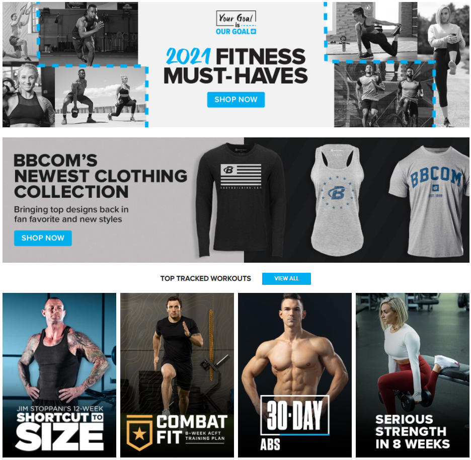 Bodybuilding.com trainings, coaches and clothing