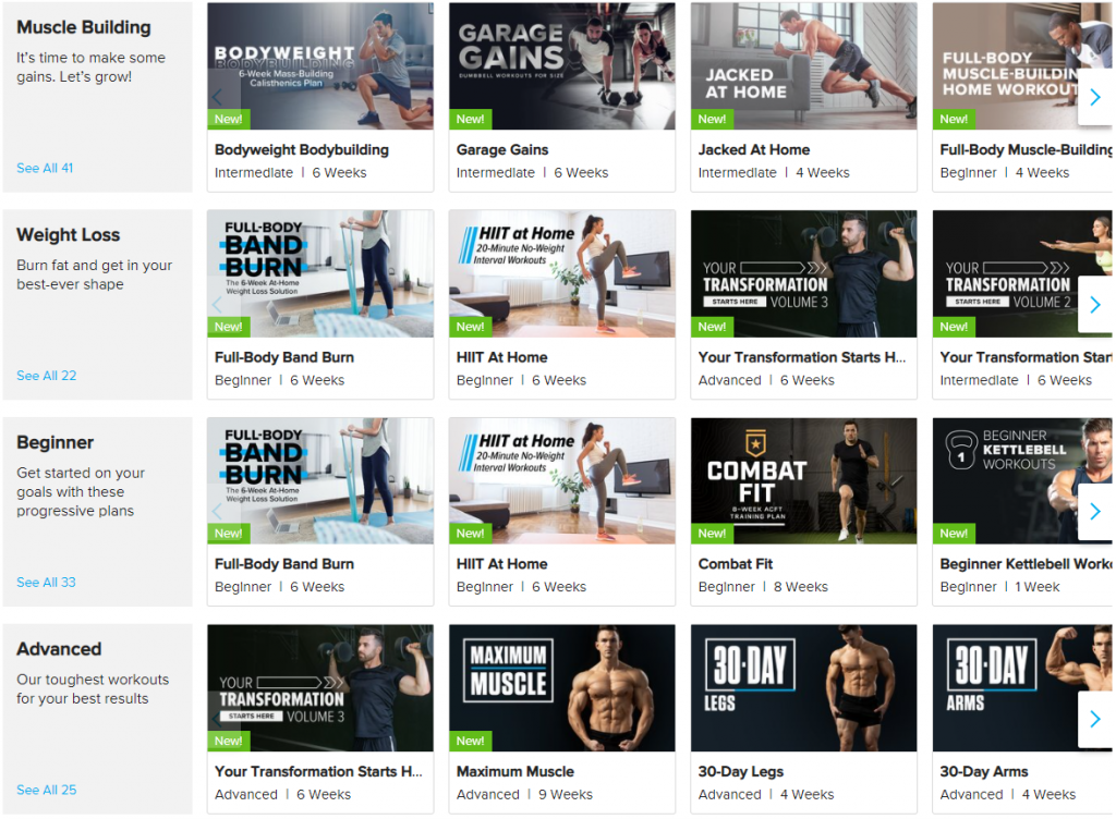 Bodyfit workouts and training programs