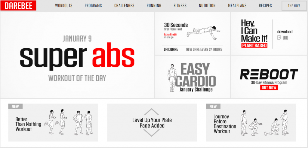Darebee workouts and training programs