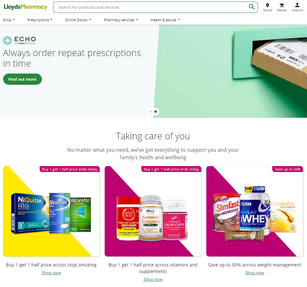 LloydsPharmacy website