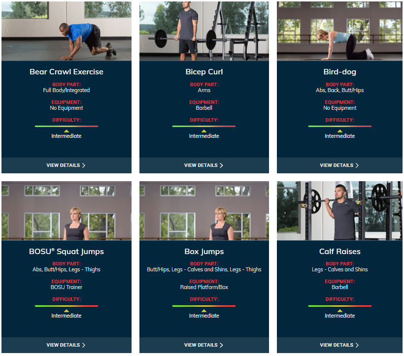 ACE Fitness Exercise Library - Intermediate Level