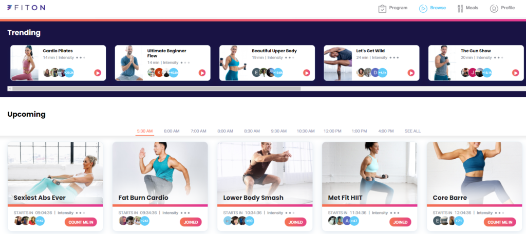 FitOn workout programs