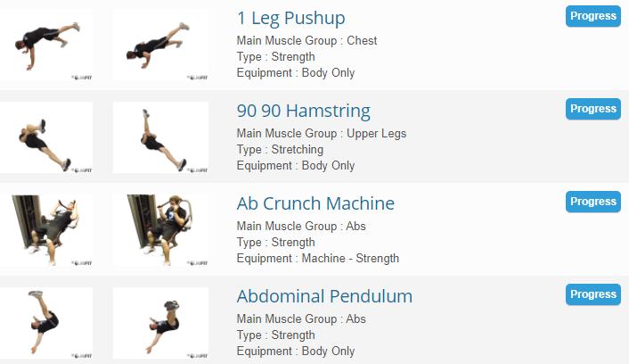 JEFIT Exercise database