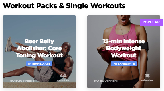 WorkoutLabs Fit workout packs and single workouts