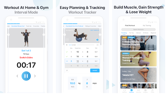 App screenshots showing Workout at home & gym, easy planning and tracking, build muscle, gain strength and lose weight