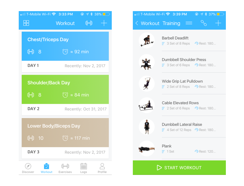 Jefit workout screen on Healthy & Exercise