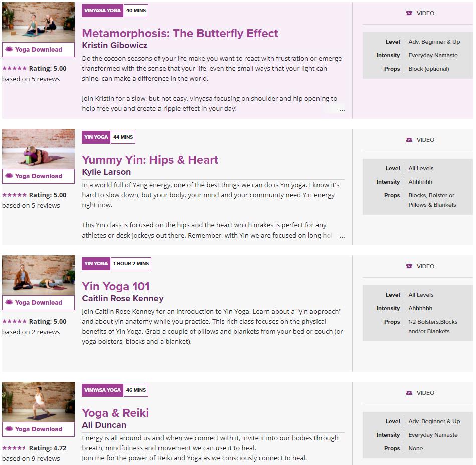 Yoga classes on YogaDownload