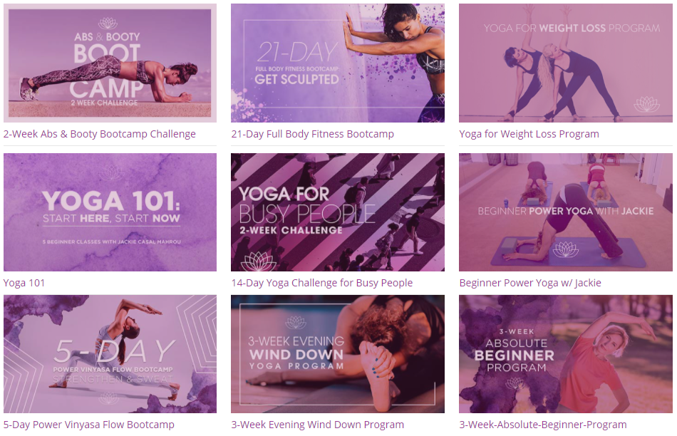 YogaDownload online programs and packages