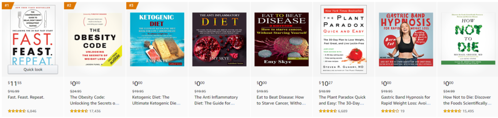 Amazon dieting books on Healthy & Exercise
