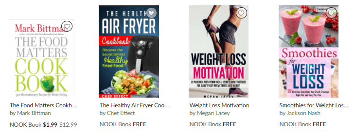 NOOK diet & nutrition books on Healthy & Exercise