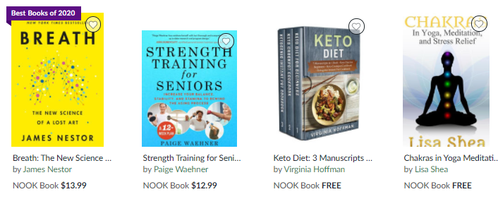 NOOK exercise & fitness books on Healthy & Exercise