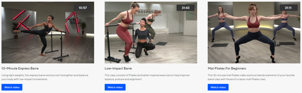 ClassPass Barre Online Workout Videos on Healthy & Exercise