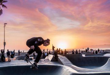 Skateboarder on Skate field